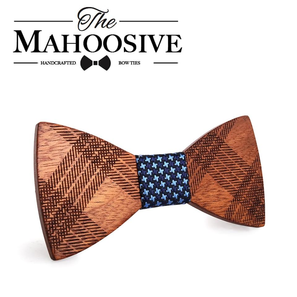 Mahoosive Wood Bow Ties for Mens Wedding Suits Wooden Bow Tie Butterfly Shape Bowknots Gravatas Slim Cravat