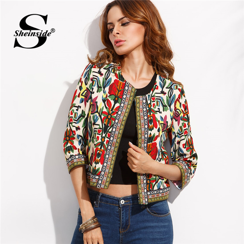 Sheinside Embroidery Outerwear Winter Tribal Print Office Ladies Women Coats and Jackets Vintage Autumn Long Sleeve Coat(China)
