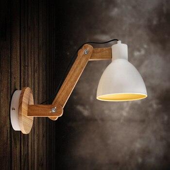 Applique En Bois De Qualité Supérieure à Bras Oscillant Mur LED Style Nordique Arandela Pour étude/Foyer éclairage De Décoration De Maison