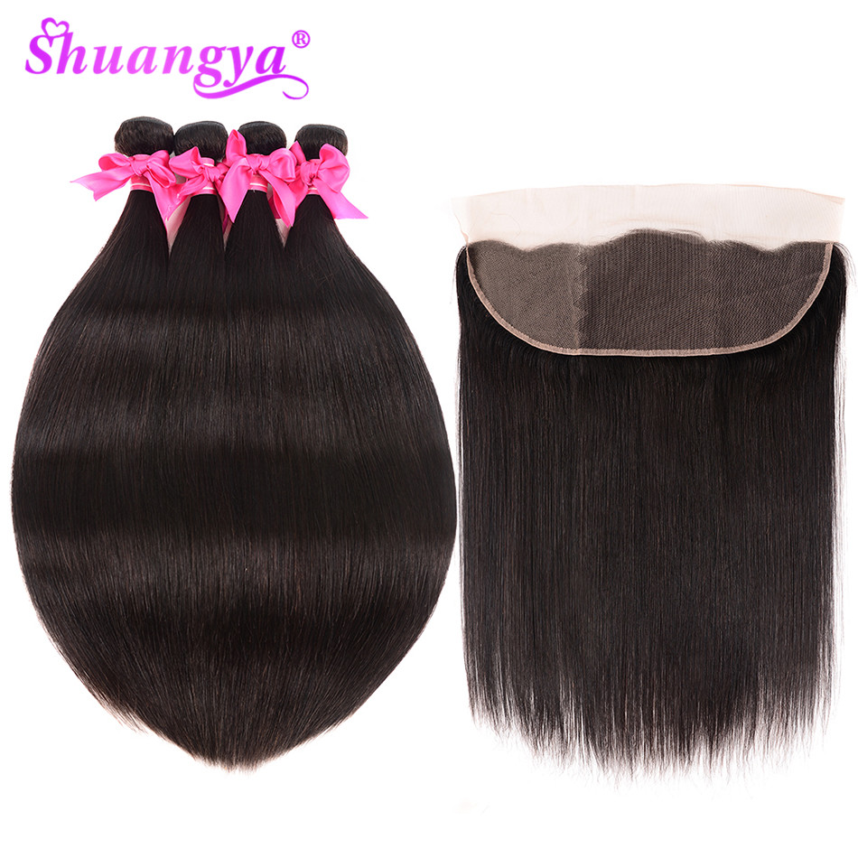 Malaysian Straight Hair Lace Frontal Closure With Bundles 100 Human Hair 3 4 Bundles With Frontal