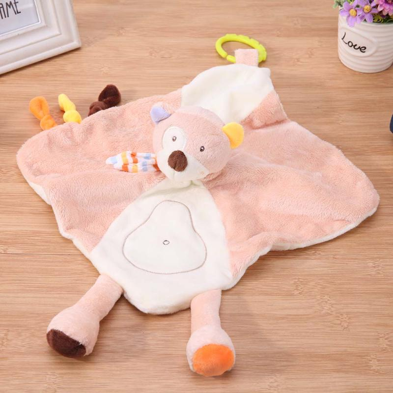 Kawaii Baby Rattles Mobile Infant Cartoon Animal Appease Towel Soft Plush Doll Newborn Teether Chew Toy Comfort Plush Hand Towel