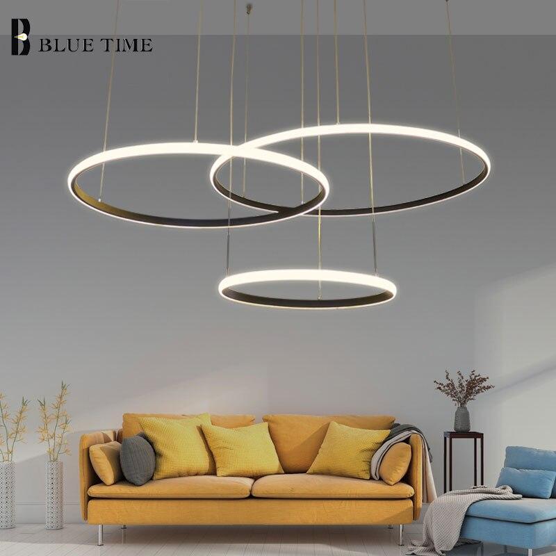 New Design Modern Led Chandelier Light Circle Rings For Living Room White Black Frame PVC Lampara De Led Home Lighting Fixtures circle