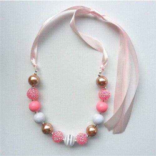 2 unids/lote hermoso diseño beads chunky collar para niños niña bubblegum collar moldeado para