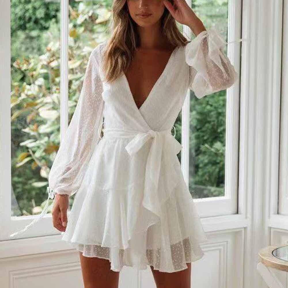 Tosheiny 2019 Women Summer Sexy Deep V Long Sleeve Spot Belt Dresses Female Elegant Mini Solid Color Dress DM0028