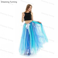 Ready To Ship Spring Summer Long Tulle Skirt Petticoat 100cm Womens Lolita Petticoat For Party Formal Wedding Bridesmaid
