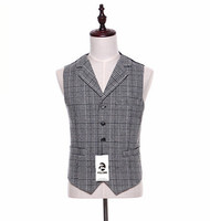 FOLOBE Wool Grey Plaid Vest For Men Slim Fit Men Waistcoat Male Homme Casual Sleeveless Formal Business Suit Vest M13