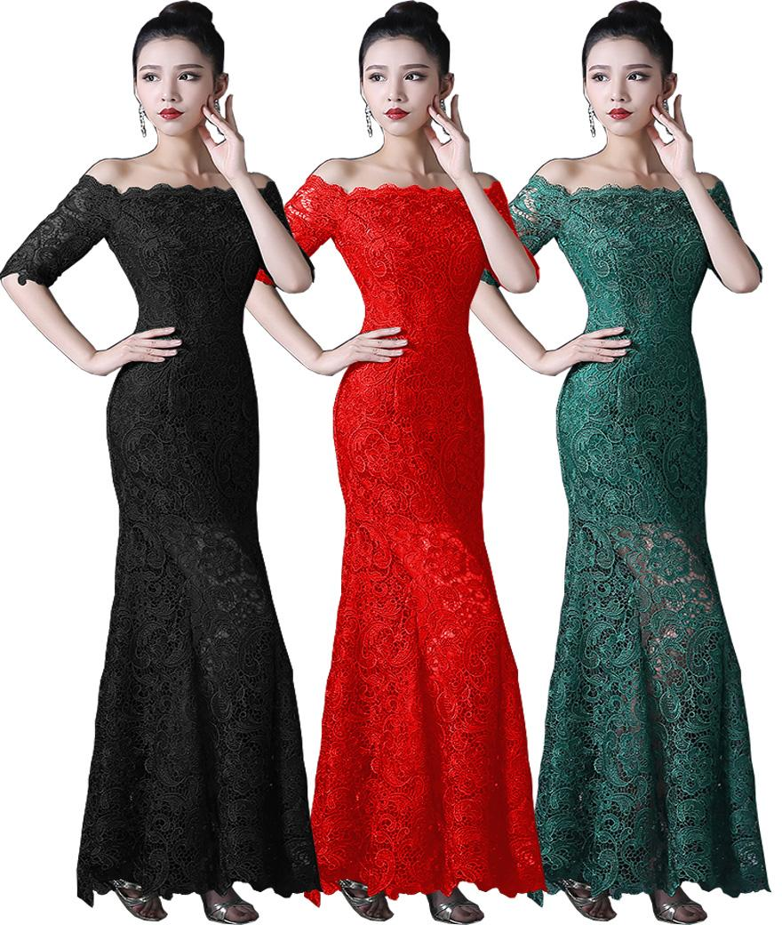 Autumn bridesmaids dresses promotion shop for promotional autumn 2016 summer autumn trumpt mermaid half sleeve boat neck lace up outside long inside short fish tail red short bridesmaid dress ombrellifo Images