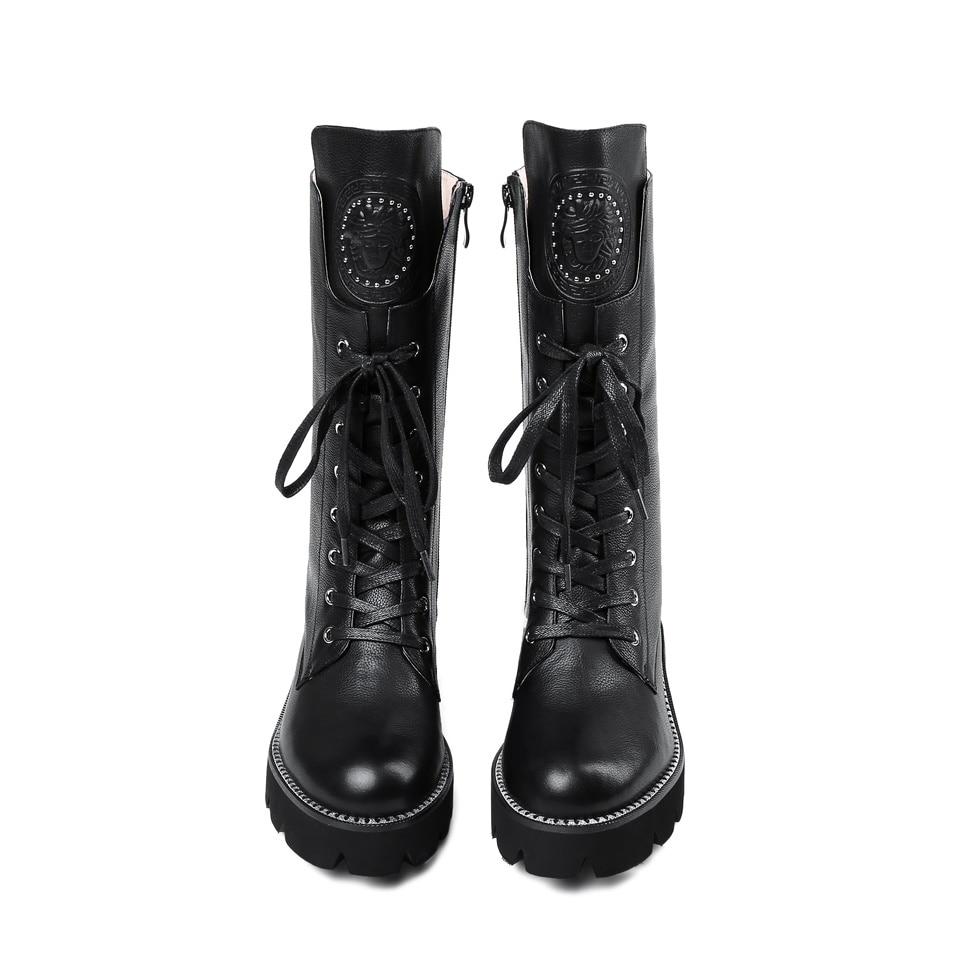 2018 moda primavera y otoño botas de cuero genuino de mujer nuevo estilo de encaje grueso botas de mujer-in Botas a media pierna from zapatos    1