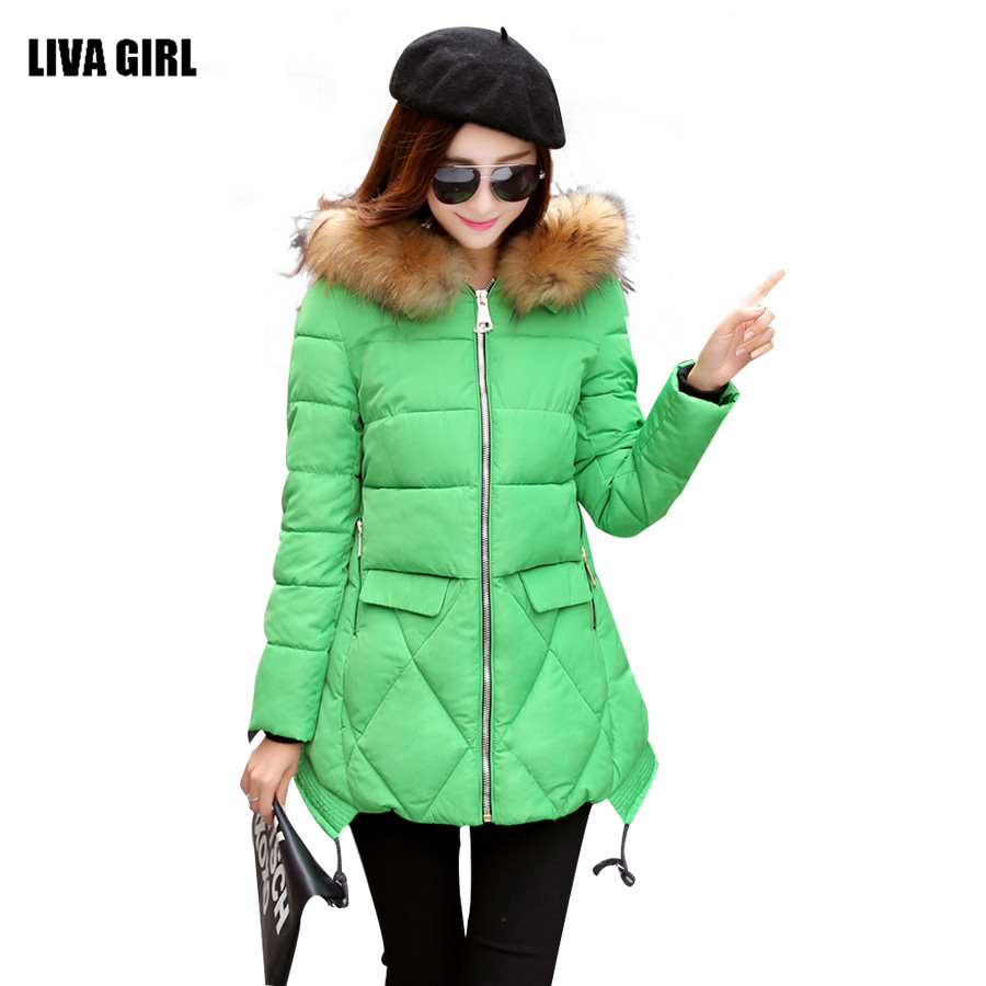 ФОТО 2016 New Winter Coat Fashion Thick Warm Medium-long Down Cotton Parkas Wadded Jacket Women Female Padded Overcoat Hooded Outwear