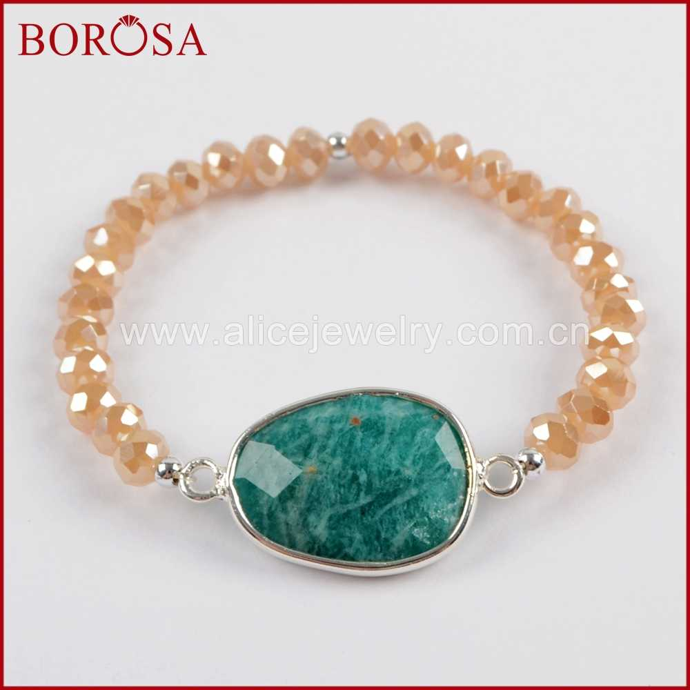 BOROSA 1 ピースシルバー色ラブラドライト白クォーツ Druzy ラピスアマゾナイト多面的な石のブレスレットガラスビーズブレスレット S1560