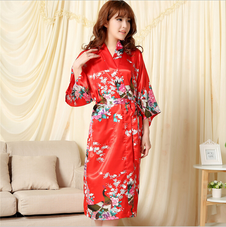 Brand Purple Red Female Printed Floral Kimono Dress Gown