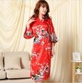 Brand Purple Red Female Printed Floral Kimono Dress Gown Chinese Style Women Silk Satin Robe Nightgown Flower S M L XL XXL XXXL