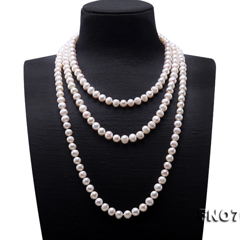 Image 2 - JYX Pearl Sweater Necklaces Long Round Natural White 8 9mm Natural Freshwater Pearl Necklace Endless charm necklace 328sale-in Necklaces from Jewelry & Accessories