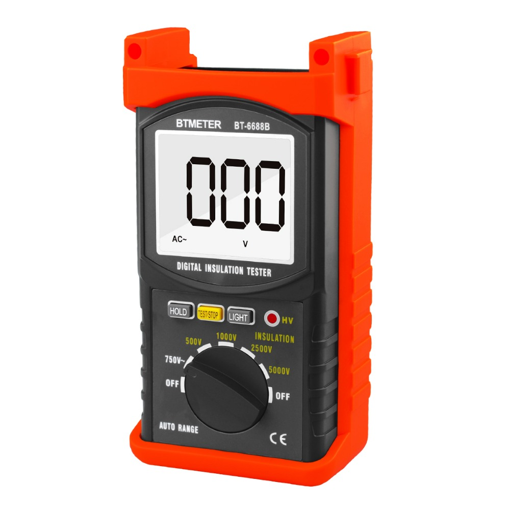 Testeur de résistance d'isolation numérique BTMETER BT-6688B, tension d'essai 5000 V, résistance d'isolation 200G ohms, haute tension