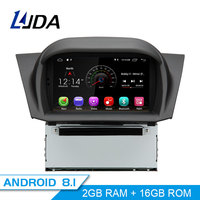 LJDA Android 8.1 Car DVD Player For FORD Fiesta 2008 2017 GPS Navigation 2 Din Car Radio Multimedia WIFI Stereo IPS Headunit RDS