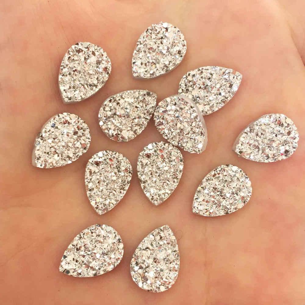 50 個光沢のある AB 樹脂 10*14 ミリメートルドロップ不規則な表面鉱石クリスタル売春ラインストーンの装飾品 Diy の結婚式のアップリケクラフト SW84 * 2