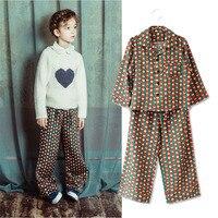 2PCS New Silk Children's Pajamas Sets Keep Warm Baby Girls Clothes Kids Sleepwear Long Sleeve Tops+Pants