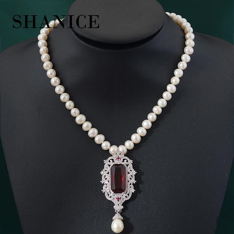 SHANICE rouge pierre pendentif colliers réel collier de mode collier de perles naturel d'eau douce bijoux pour les femmes cadeau