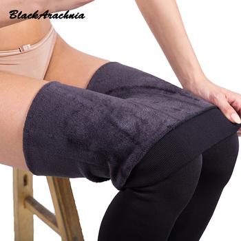 Wysoka elastyczna talia zima Plus Velvet Thicken damskie ciepłe spodnie ciepłe super elastyczne faux Velvet zima grube Slim legginsy tanie i dobre opinie Kobiet Stałe Standardowych Wysokiej Casual Spandex bawełna Długość kostki Dziane Czarna pajęczy