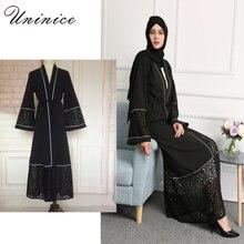 Brand Muslim Dress Black Abayas Long Robes Kimono Women Lace Cardigan Fashion Loose Style Islamic Prayer Clothes Turkey Hijab