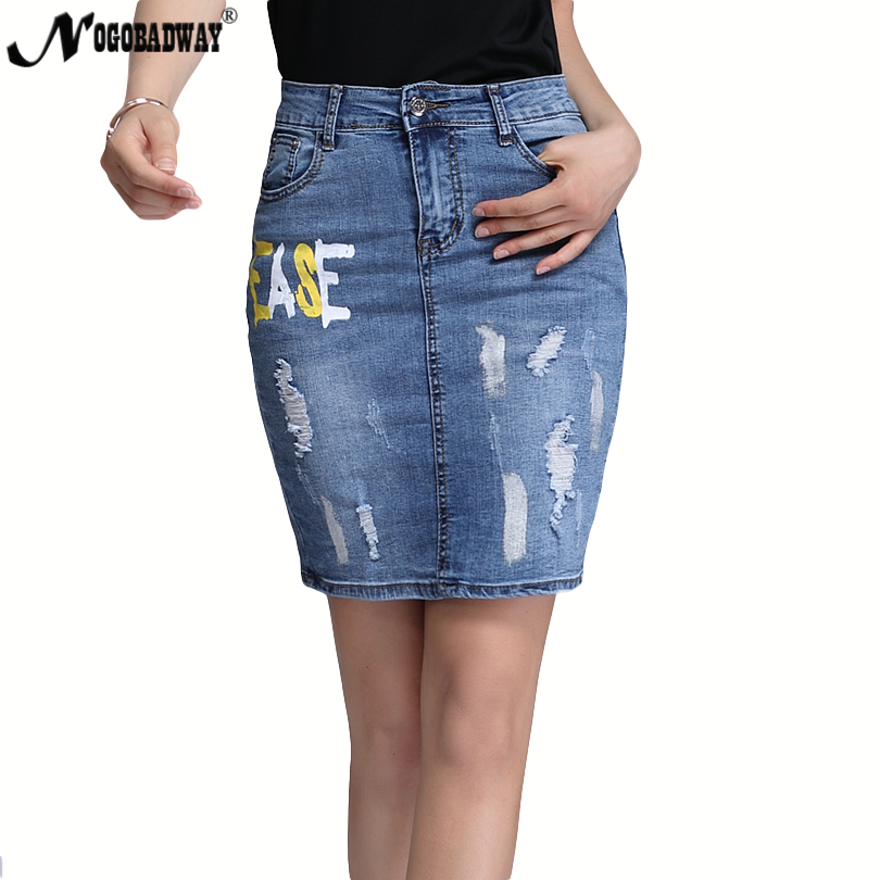 e1a1b9e52 Plus Size 4XL Stretchable Denim Skirts High Waist Women 2018 Autumn Summer  Short Pencil Jeans Skirt Ladies Casual Bottoms Letter