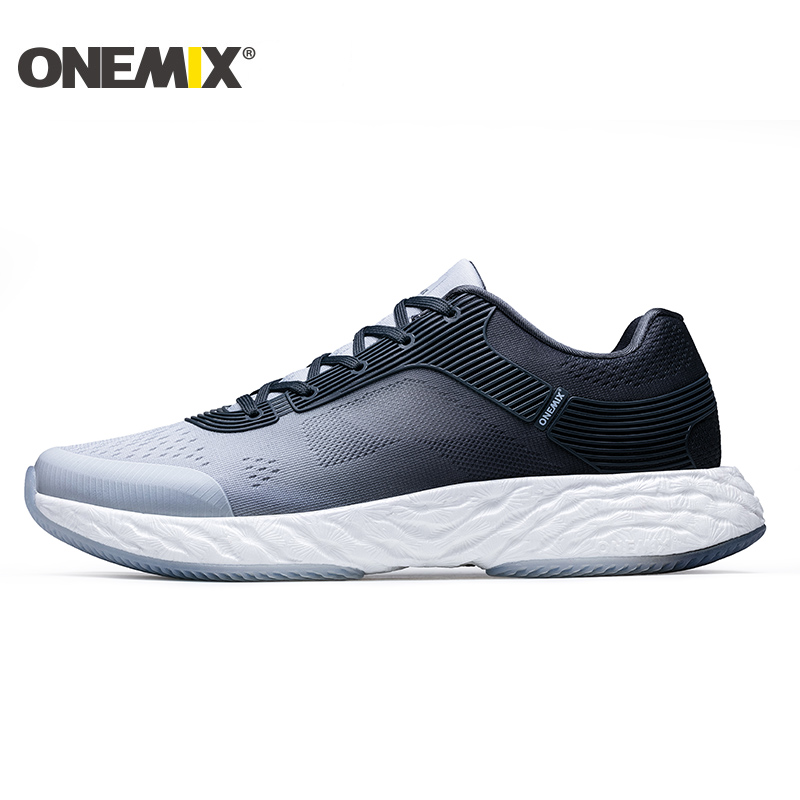 ONEMIX hommes chaussures de Tennis pour femmes haute élastique athlétique formateurs Trail mâle Gym sport baskets Air Mesh tricot extérieur marche 8