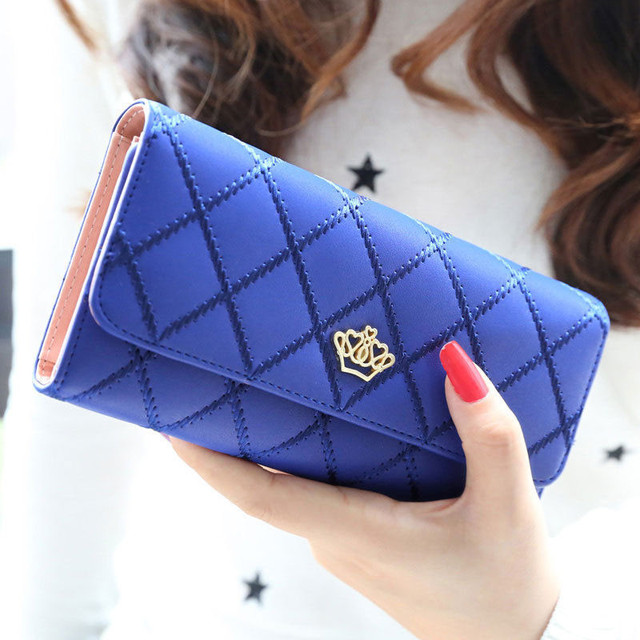 Women Wallet Clutch Bag Vintage Crown Wallets Girls ID Card Holder Embellishment Plaid Purse Phone Case Money Bag 2