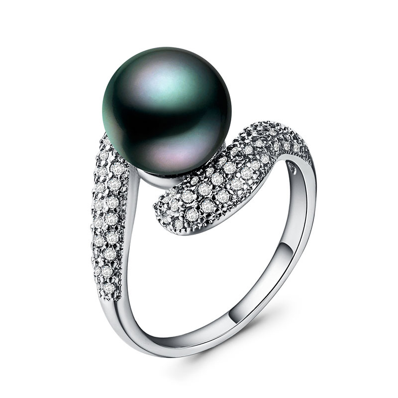 Diamond rings pearl Cubic zirconia ring Ring 925 sterling silver ring treasure black pearl crystal Garnet ring B893 B2340 in Rings from Jewelry Accessories