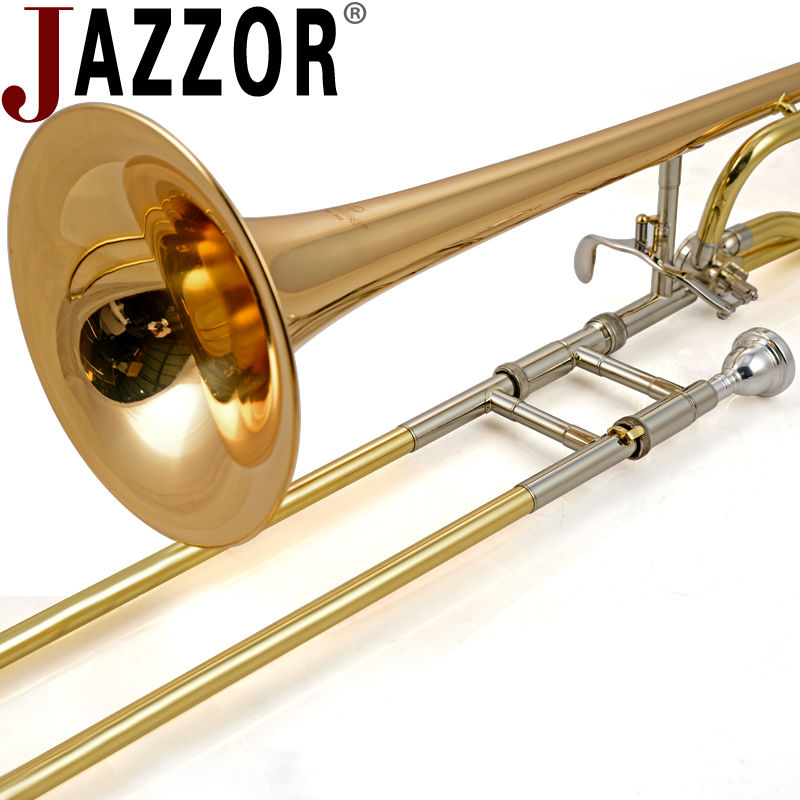 JAZZOR JBSL-802 B/F flat tenor trombone with the mouthpiece with case,gloves, wind instruments bb f tenor trombone lacquer brass body with plastic case and mouthpiece musical instruments