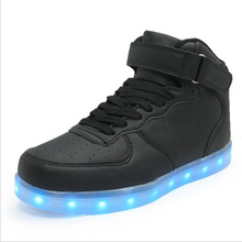 quality LED shoes men women white black high top yeezy sneakers lights casual flats luminous shoes glowing shuffle dance shoes