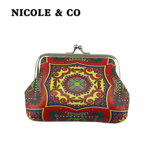 NICOLE & CO2019Mini Coin Purse girls Change Metal Hasp Closure Card Holder Wallet  Small Bag