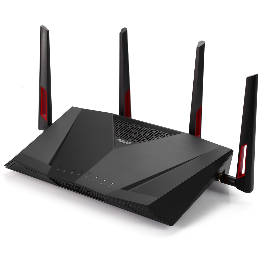ASUS RT-AC88U AC3100 Dual-Band Gigabit WiFi 802.11AC MU-MIMO 2.4GHz / 5GHz 8ports Gigabit Ethernet Black Red 3G 4G Router asus rt ac88u wireless router