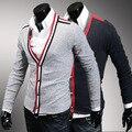 Camisola dos homens Chegada Limitado Blusas Camisola Masculino Magro Clássico Bloco Cor Decoração Bainha V Profundo Neck Cardigan Personalidade