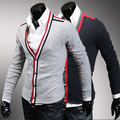 Men's sweater Arrival Limited Sweaters Sweater Male Slim Classic Color Block Decoration Hemming Deep V Neck Cardigan Personality