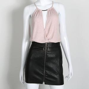 Image 3 - เซ็กซี่กระโปรงผู้หญิงเซ็กซี่สูงเอวกระโปรง PU หนังฤดูใบไม้ร่วงโลหะ Hoop Zipper กระโปรงดินสอ MINI กระโปรง faldas mujer moda 2020