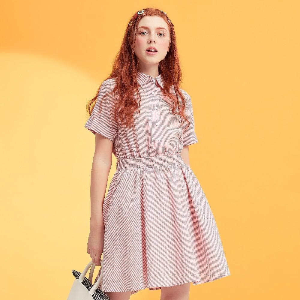 Metersbonwe marca vestido da listra primavera senhora é provado recém puro e fresco doce show de cintura vestido de renda-up