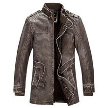 Leather Jacket Men Winter Warm washed Leather Bomber Motorcycle Jackets Stand Collar Coat Plus size XXXL