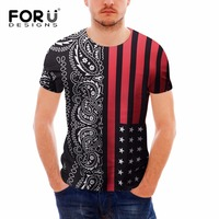 FORUDESIGNS Paisley Flowers T-shirt Men O-neck 3D T-shirt Print USA Flag Roses Floral Top Tees Shirt Homme Brand Designer Tshirt