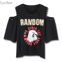 Lychee Harajuku Punk Summer Women T Shirt Letter Eagle Print Rivet Off Shoulder Casual Loose T