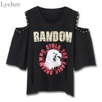 Lychee Harajuku Punk Summer Women T Shirt Letter Eagle Print Rivet Off Shoulder Casual Loose T