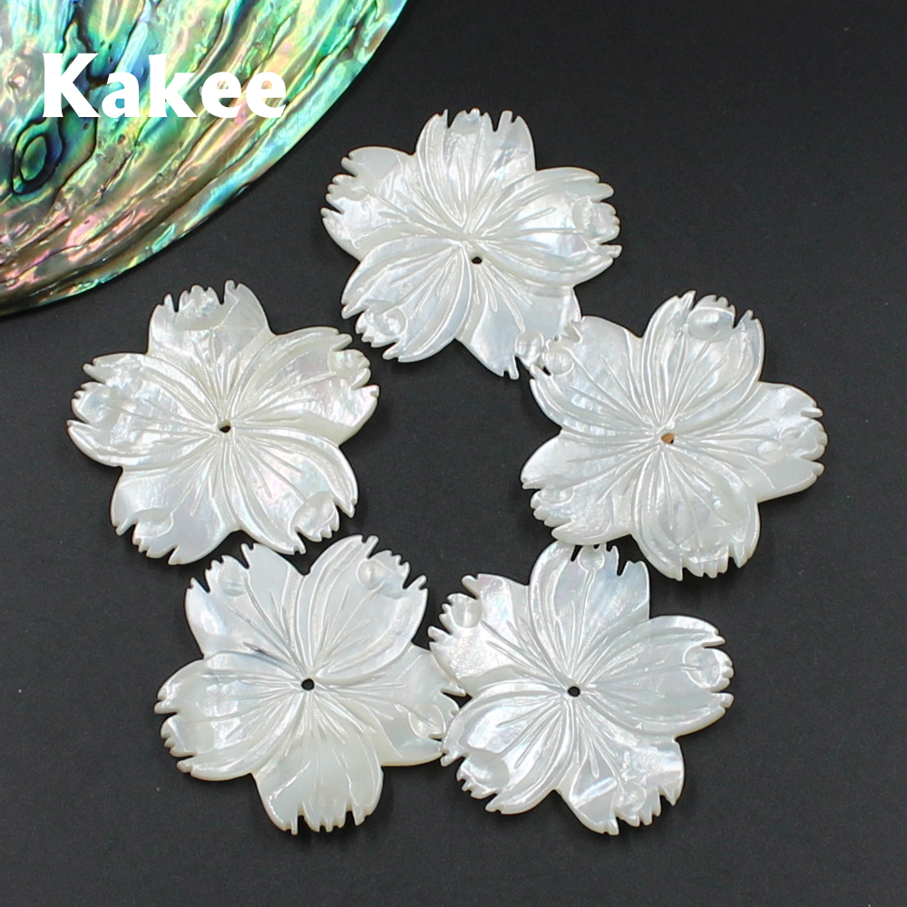 Kakee Natural Mother Of Pearl Big White Carved Flower Charms DIY Sea Shell Beads For Jewelry Making Fashion Brooches Materials