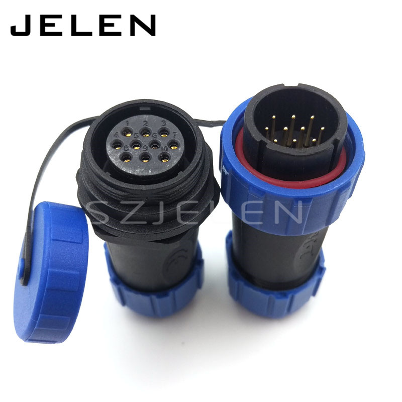 SP2110, 10 pin Cable connector, Waterproof connector plug and socket, led 10 pin power wire connectors IP68 sp21 no need welding waterproof connector plug socket 2 pin power cable connector panel mount 21mm ip68 led connectors