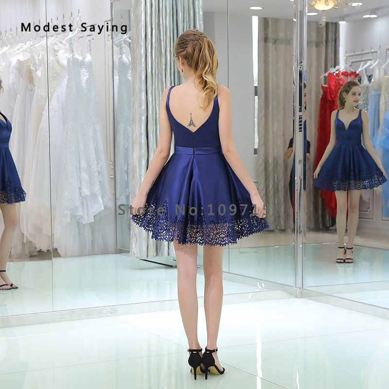 ... Sexy Backless Blue A-Line Short Cocktail Dresses 2018 with Straps Girls  Mini Cut- ... 6f0f8da55eab