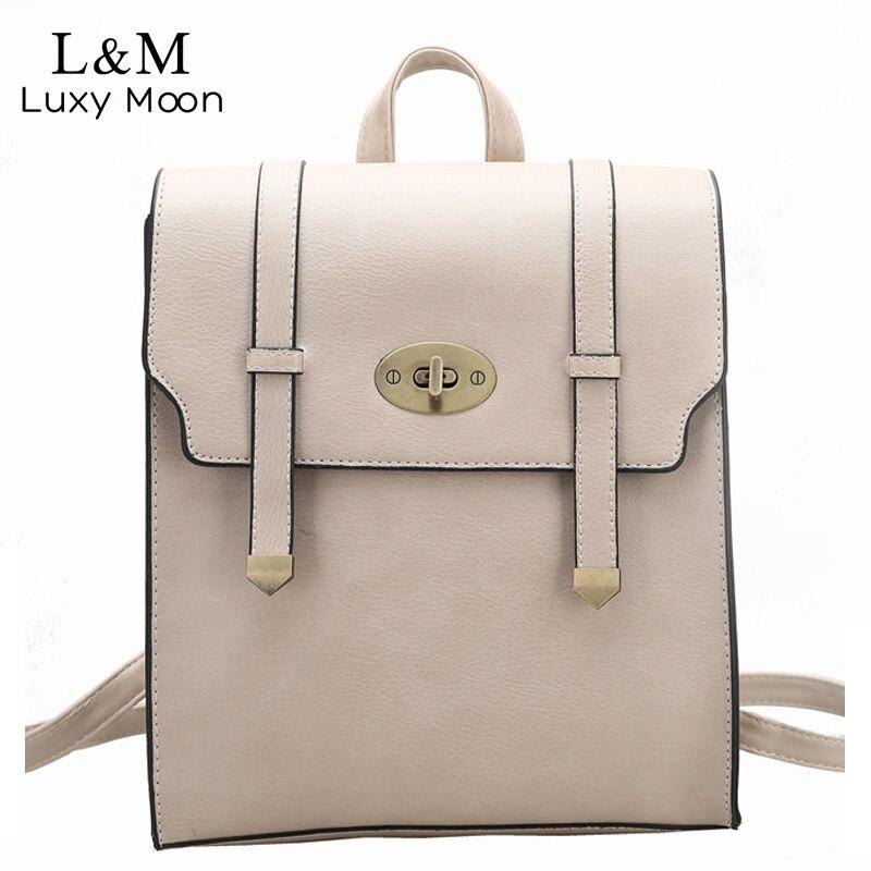 Women Backpack Fashion Lock Leather Backpacks Vintage Rucksack Brand Black Shoulder Bags Teenage Girls Large Bag
