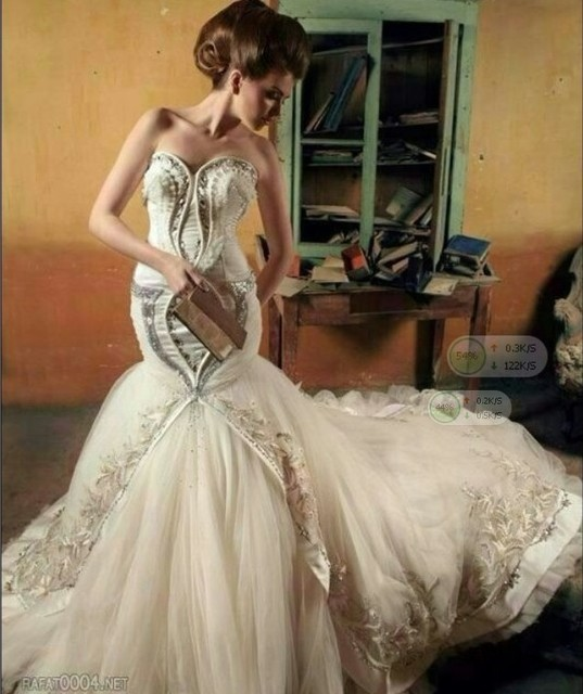 Free Shipping Wedding Dress Celebrity Arabia Singer Myriam Fares Strapless Ball Gown Tiered Floor Length
