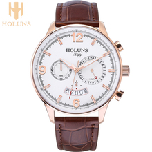 Large dial Casual Leather quartz mens watch 2016 Holuns top sale multifunction business Waterproof special sport