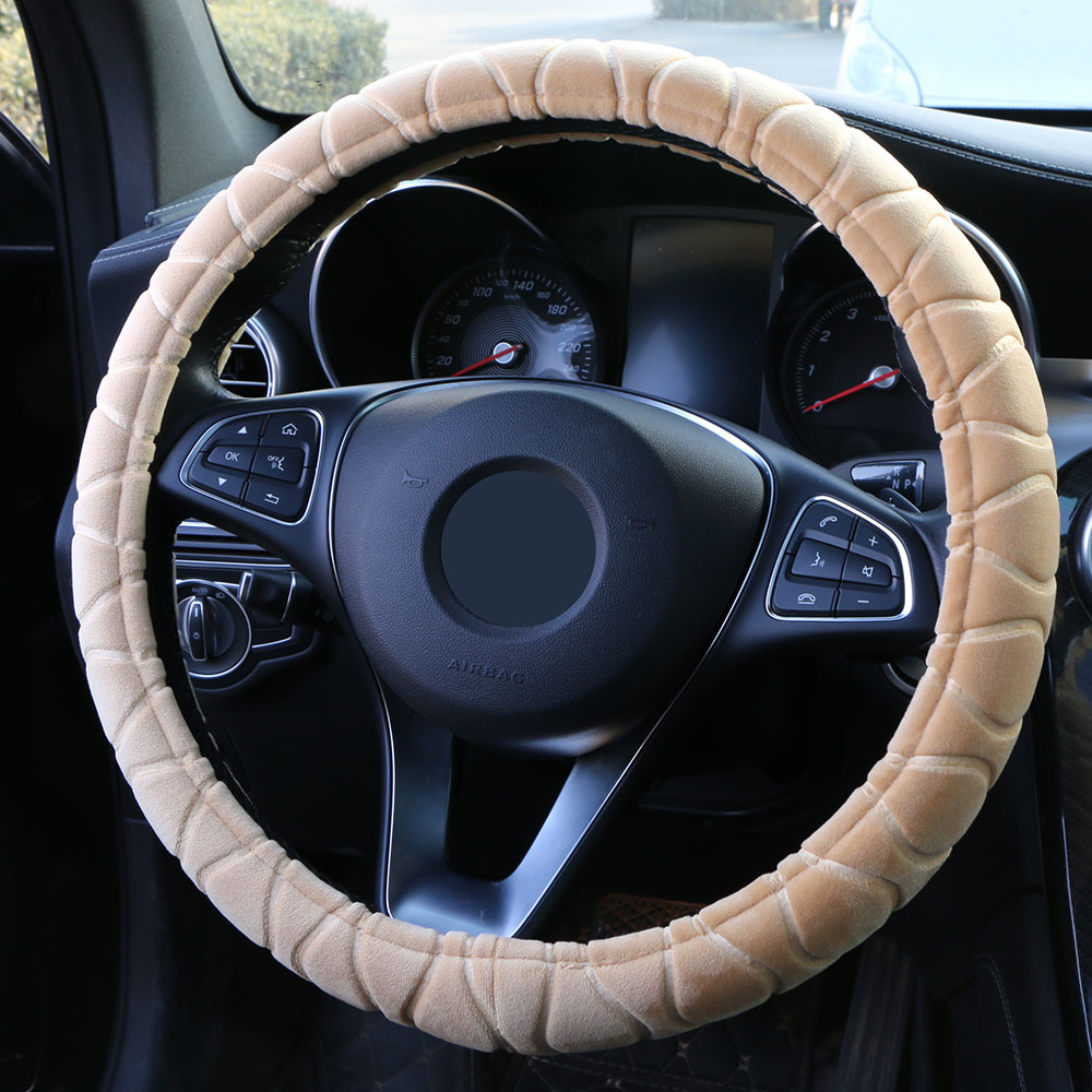 "Image 5 - O SHI CAR Universal Car Steering Wheel Cover Fluffy Size 38cm / 15"" Winter automobile Plush handlebar braid Steering Wheel warm-in Steering Covers from Automobiles & Motorcycles"