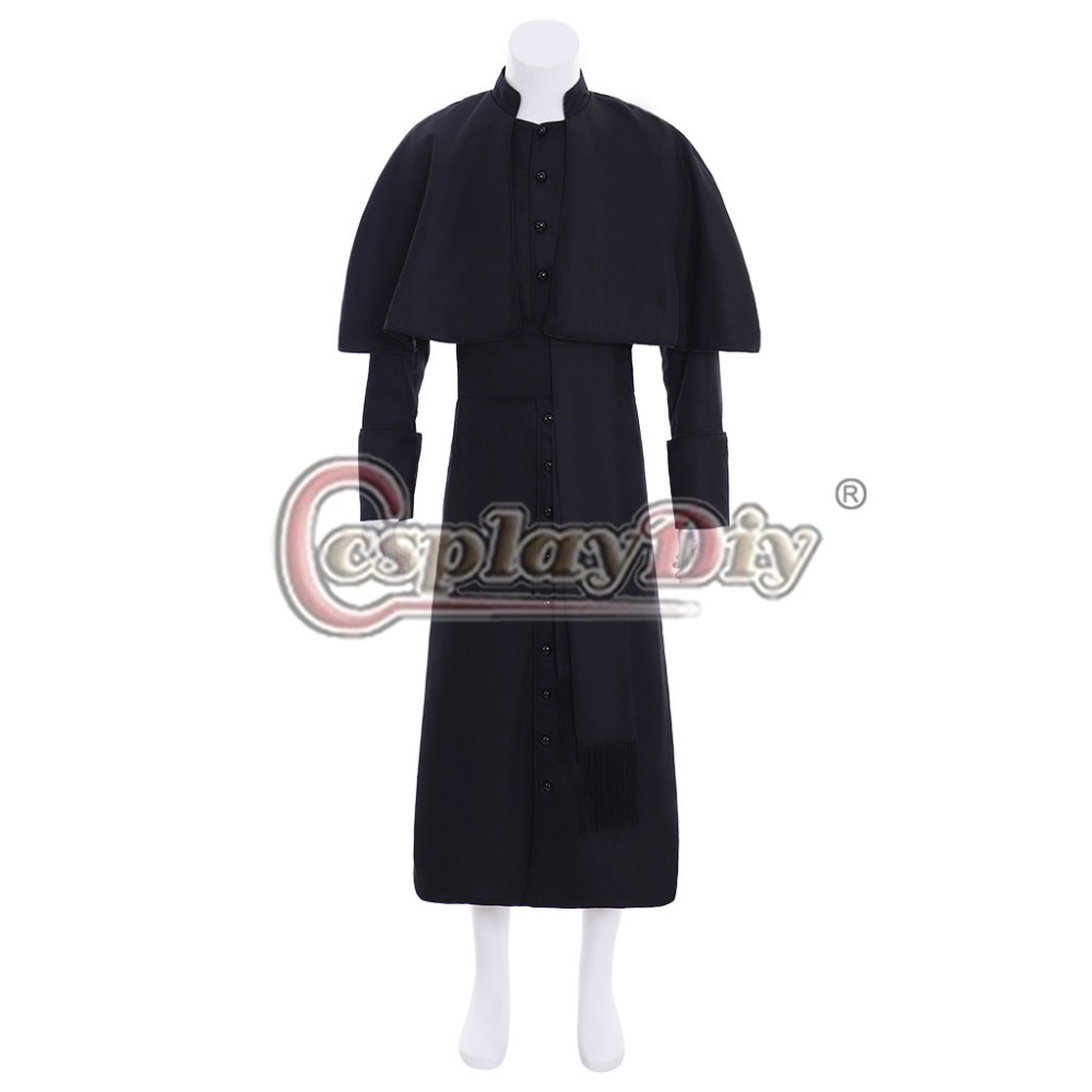 Cosplaydiy Custom Made Medieval Clergy Robe Cassock With Belt Costume Victorian Roman Soutane Black Cassock L320