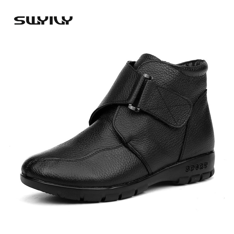 Plus Size 43 Snow Boots Winter Warm Plush Non-slip Women Boots Mother Casual Shoes High Quality Hook & Loop Female Ankle Shoes браслет красцветмет женский золотой браслет ndнб 12 002 d 0 35 16