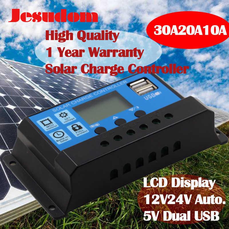 30A 20A 10A 12 V/24 V LCD PWM Điện Áp Năng Lượng Mặt Trời Pin Điều Khiển PV Tế Bào Bảng Điều Khiển Sạc Điều Chỉnh Đèn 100W 200W 300W 400W 500W